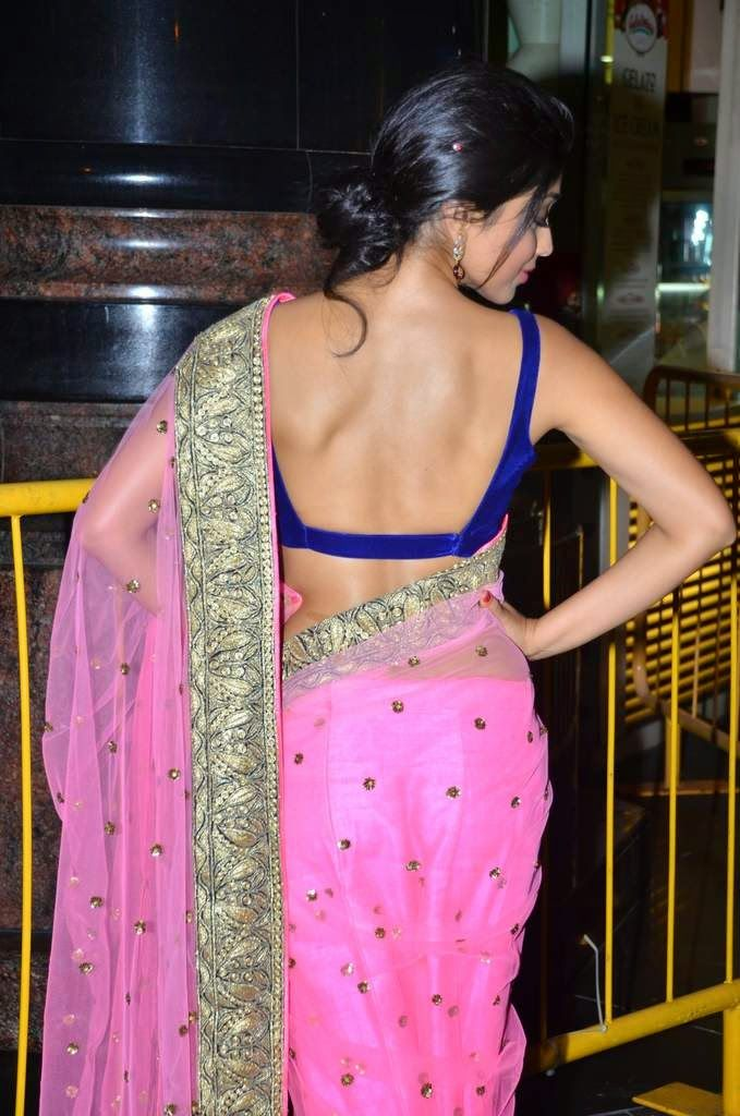 Tamil Movie Actress Shriya Saran Bare Back Backless in Saree and Blouse