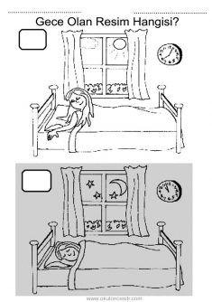 Gece gündüz kavramı, night and day worksheeets
