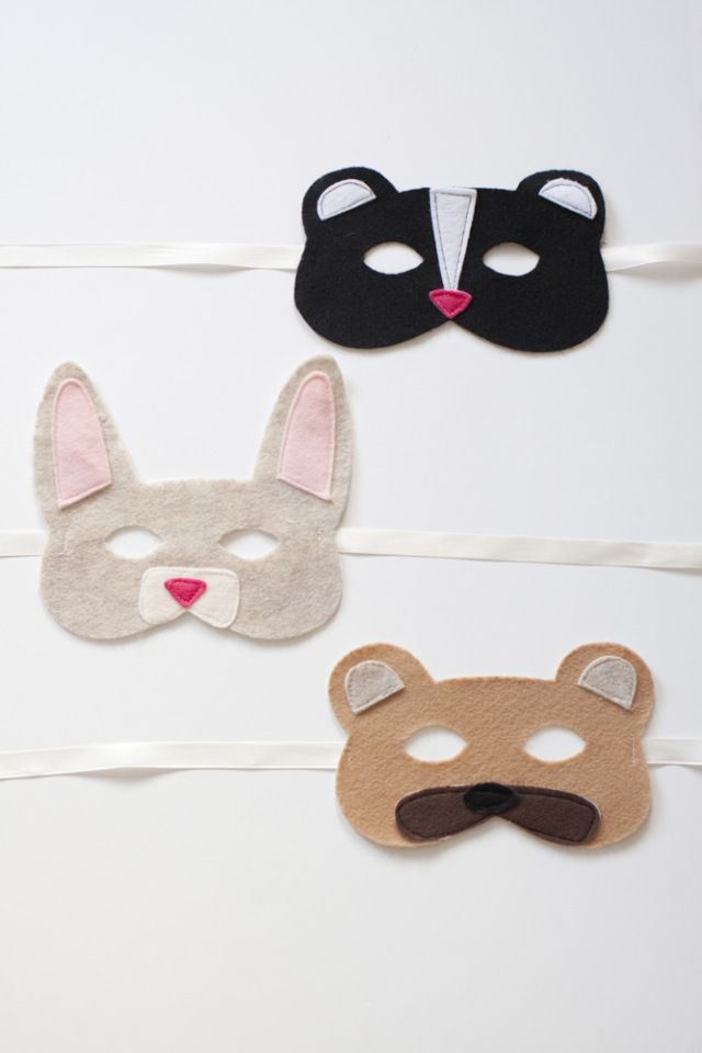 Diy woodland animal felt masks tutorial with free for Woodland animal masks template