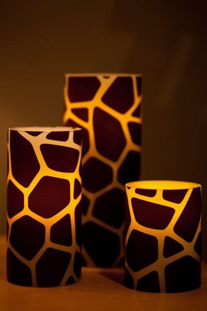 Giraffe print candle holders