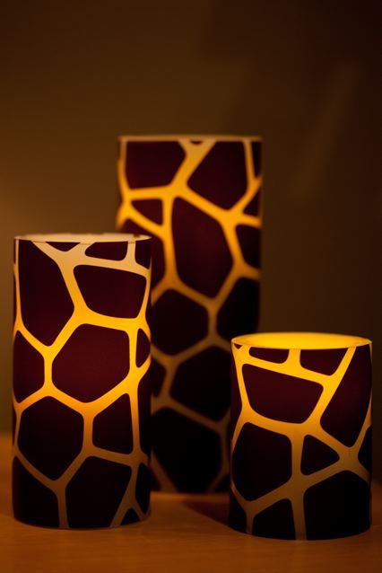 Giraffe print candle holders