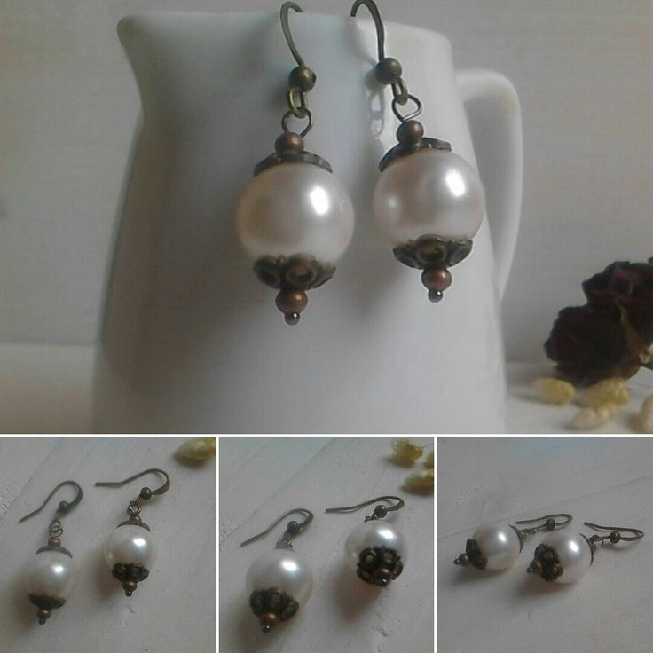 Beautiful dangle earrings with ceramic pearls fot only 6,50€ ,cute for a present or for evry day wear. Have a look in my shop. Thanks itssomimi2