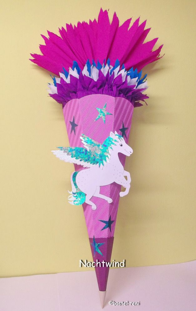 Fantastische Schultüte mit Einhorn für den zur Einschulung / school cone, unicorn, for girls first day of school by bastel-reni via DaWanda.com