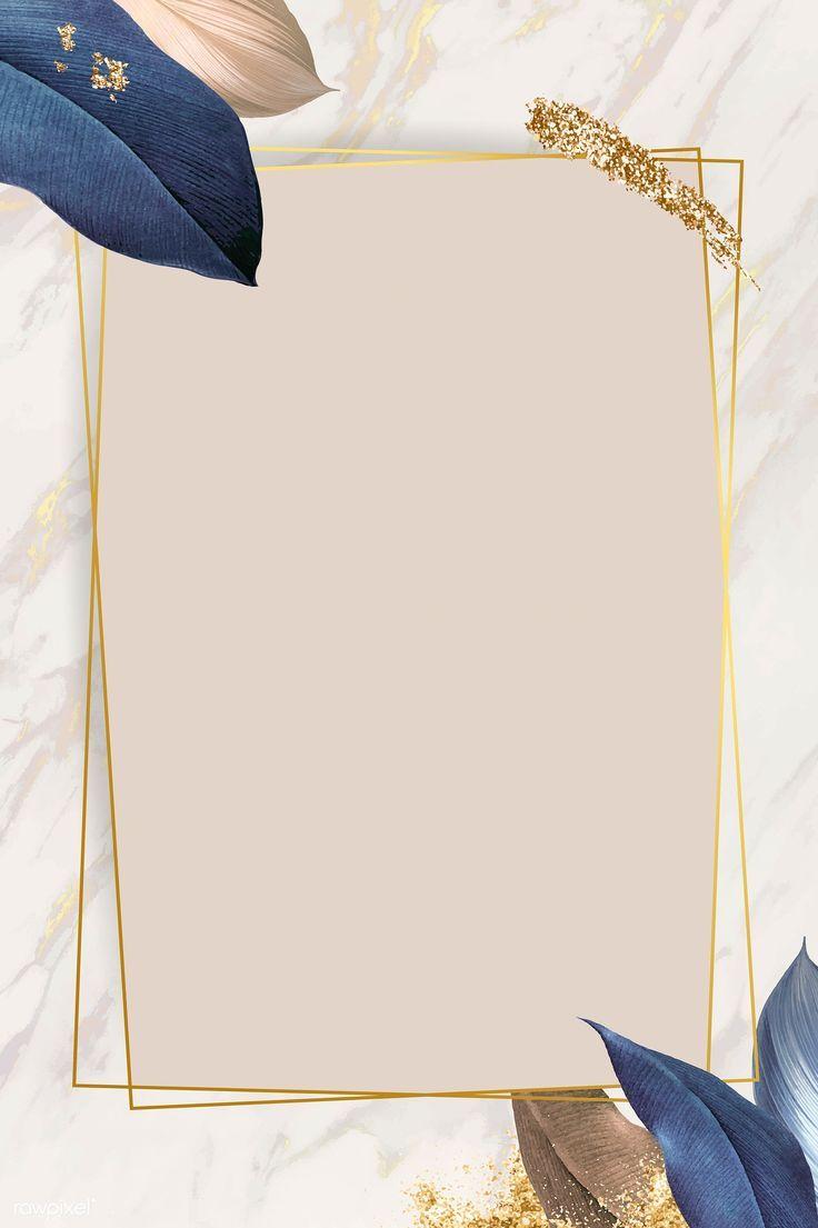 Rechteck Laub Frame auf weißem Marmor Hintergrund…