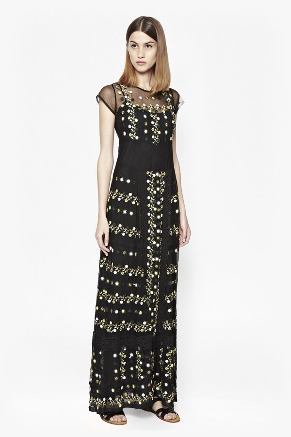 Springfield Flower Maxi Dress  (affiliate link) #Christmaspartyoutfit