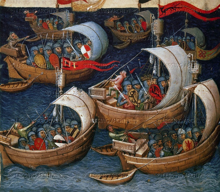 An army of knights is being transported in a fleet of ships, probably to take part in the siege of Troy. A king travels in the largest ship. From