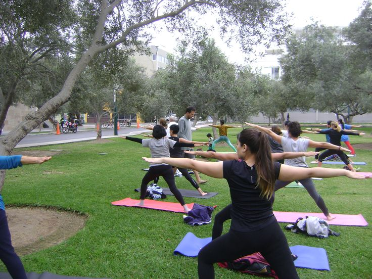 On sunday at El Olivar park, Marco Acosta from Punto Om Yoga studio with his warriors.