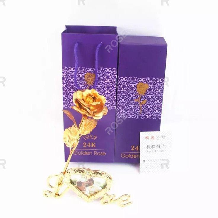 Tagesgeschenk 24 Karat Goldfolie Künstliche Rose Blume Valentinstag Geburtstagsgeschenk   – Girls' Jackets Blazers