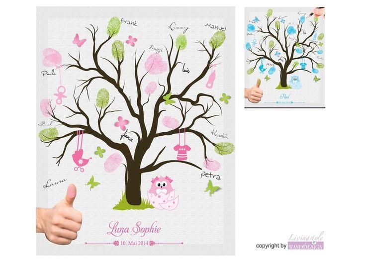 Fingerabdruckbaum | Taufgästebuch | Taufgeschenk von Livingstyle und Wanddesign auf DaWanda.com