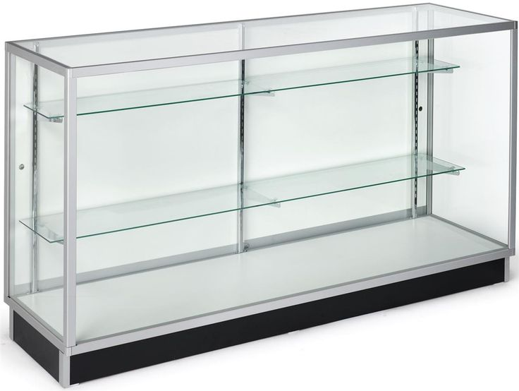 "70"" Retail Display Case w/Recessed Kickplate, Slider Door, Adjustable Shelves, Silver"