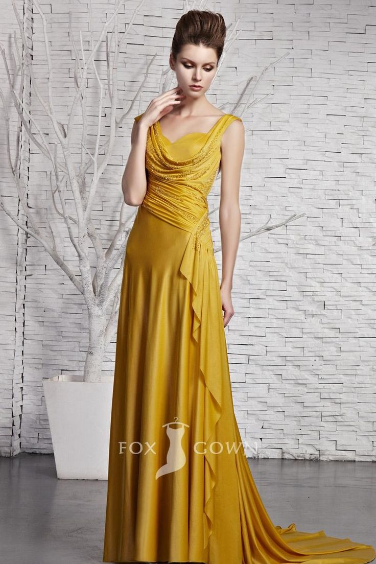 Yellow cowl dress