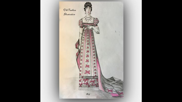 Old Fashion Illustration/ Clothes design/ Evening dress/ Sketching with ...