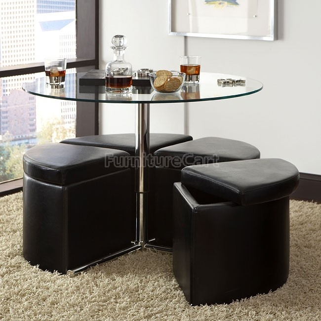 Cosmo Glass Tail Table W 4, Adjustable Height Round Glass Top Coffee Table With 4 Storage Ottomans