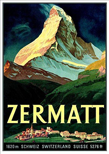 'Zermatt - Switzerland' (3) - A4 Glossy Art Print Taken From A Rare Vintage Travel Poster by Vintage Travel Posters http://www.amazon.co.uk/dp/B01BHQBPEA/ref=cm_sw_r_pi_dp_jOgTwb180NSAY