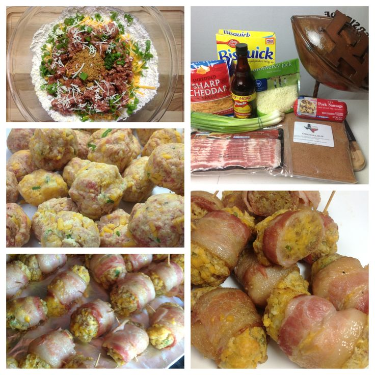 """Bacon wrapped Sausage Balls 3 cups bisquick 4 cups shredded cheese 3 green onions 1 lb package pork breakfast sausage 1/3 cup Texas BBQ Rub Original Mix together all ingredients. This will seem dry but moisture will form as the balls are formed.  Form into 1"""" diameter balls. Wrap in 1/2 slice of bacon. Place on aluminum foil or pan. Cook at 225 degrees for 35-40 min. Internal temp 165 degrees #texasbbqrub #bacon #sausageballs"""
