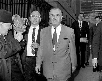 "Joseph ""Joe Bananas"" Bonanno confidently strides out of jail 1966"