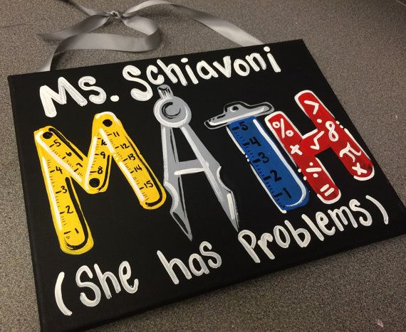 Math Teacher Sign  Hand Painted  Teacher Door by MelanieLupien