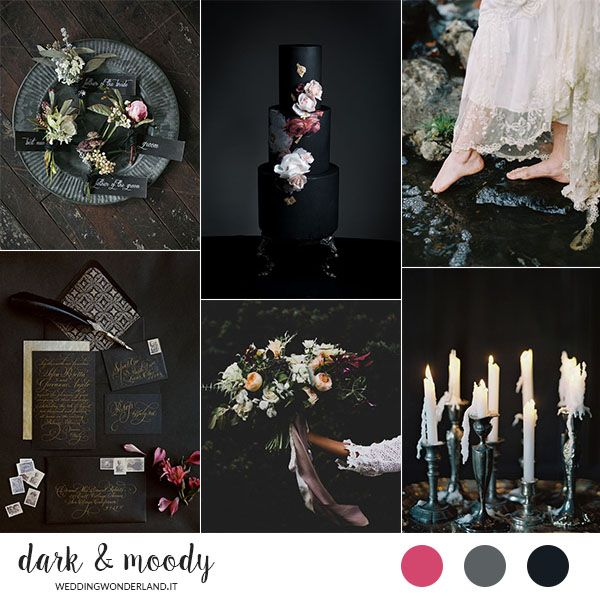 dark and moody wedding inspiration board // more on http://weddingwonderland.it/2016/03/matrimonio-dark-moody.html