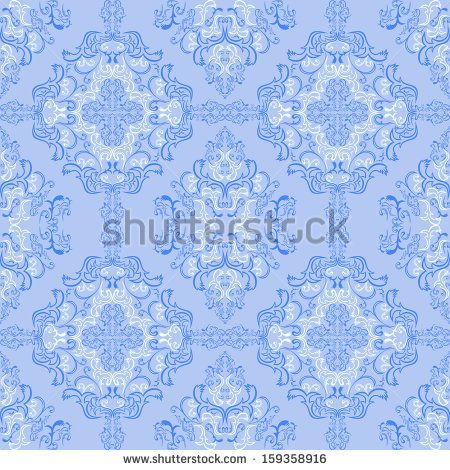 Seamless gently-blue retro Wallpaper. Raster version. - stock photo