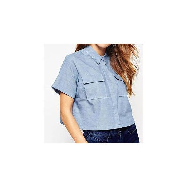 Short-Sleeve Losse Fit Shirt (£16) ❤ liked on Polyvore featuring tops, shirts, women, polyester shirt, blue short sleeve top, blue top, blue shirt and blue short sleeve shirt
