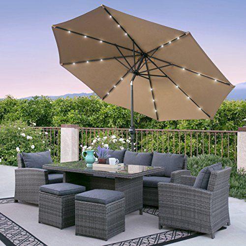 Beige Outdoor Patio Garden Pool Umbrella 10Ft w/ LED Lights Aluminum Frame  #OutdoorUmbrella