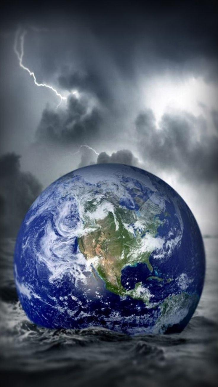 Fantasy Globe Earth Fall In Ocean Storm iPhone 6 plus