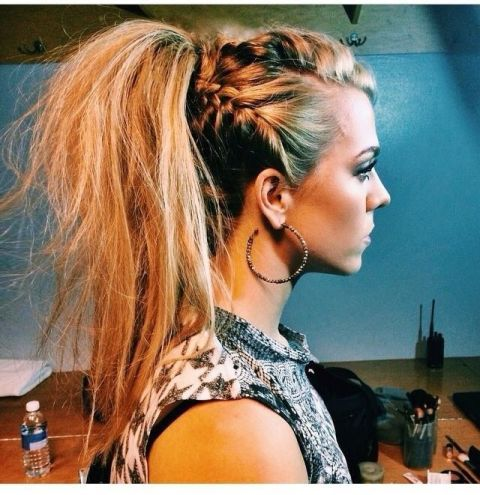 Punk up your plait with skinny braids and a backcombed mane