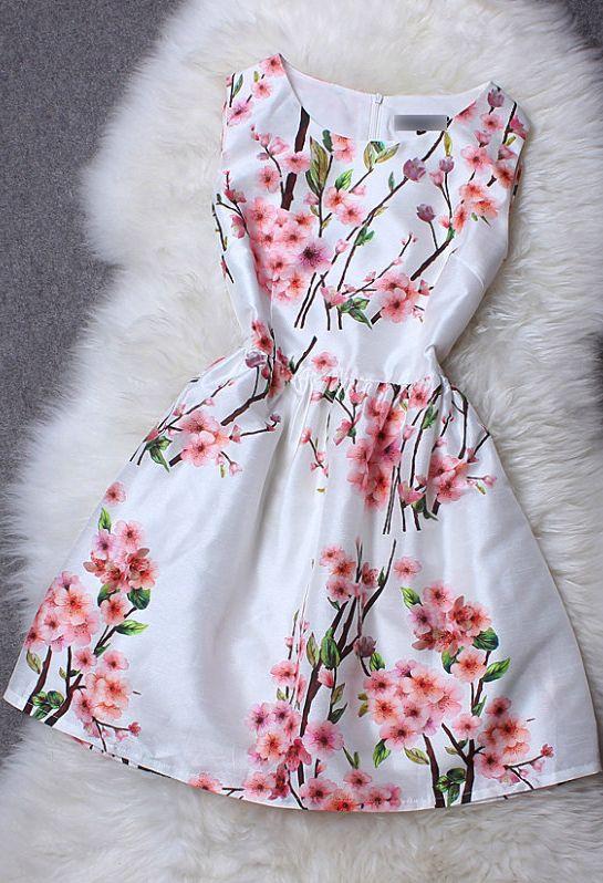 Peach Printed Neck Sleeveless Dress