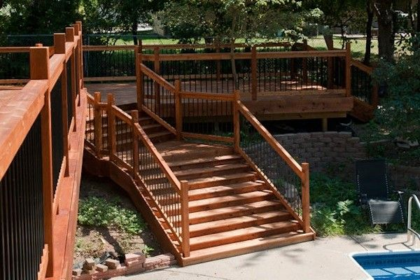 Wood Deck With Wide Stairs In Janesville Built By Rock