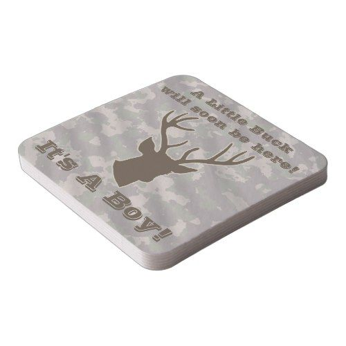 Funny Hunting Camouflage Brown Boy Baby Shower Square Paper Coaster