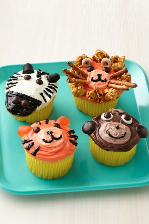 """Lions, tigers, zebras and monkeys, oh my! These adorable jungle animals are almost too cute to eat. The decorations look complicated, but they're actually extremely easy with the help of a few candies. """"I made these for my son's birthday at school and for his birthday part and they are definitely winners!"""" says Betty member DangersMom."""