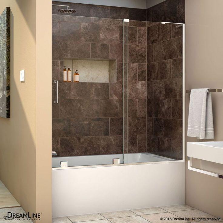 """DreamLine SHDR-1960580R Mirage-X 58"""" High x 60"""" Wide Right-Wall Sliding Frameles Chrome Showers Shower Doors Sliding"""