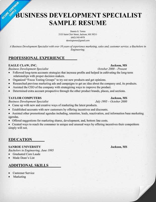 Business Development Specialist Resume Sample Resume Samples - fitness instructor resume sample