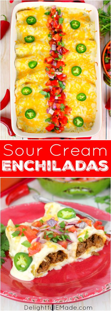 The only enchilada recipe you'll ever need! Stuffed with seasoned ground beef and cheese, smothered with a thick, delicious sour cream sauce, topped with more cheese and baked to perfection, these enchiladas are incredible! Amazing with pico de gallo and all your favorite Tex-Mex fixings!