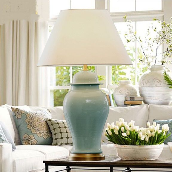 Chinese Classical Table Lamps Blue White Living Room Model Room