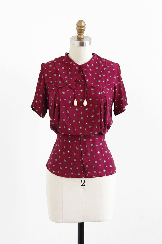 vintage 1930s burgundy floral art deco blouse with painted pearl dangles | #vintage