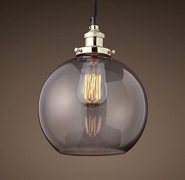 20th c factory filament smoke glass caf 233 pendant