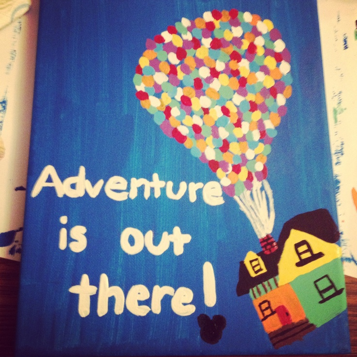 Painted canvas of the disney movie Up. Arts and crafts
