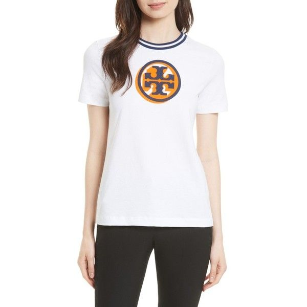 Women's Tory Burch Malibu Tee (860 CNY) ❤ liked on Polyvore featuring tops, t-shirts, white, colorful t shirts, colorful tops, white tee, white t shirt and multi color t shirts