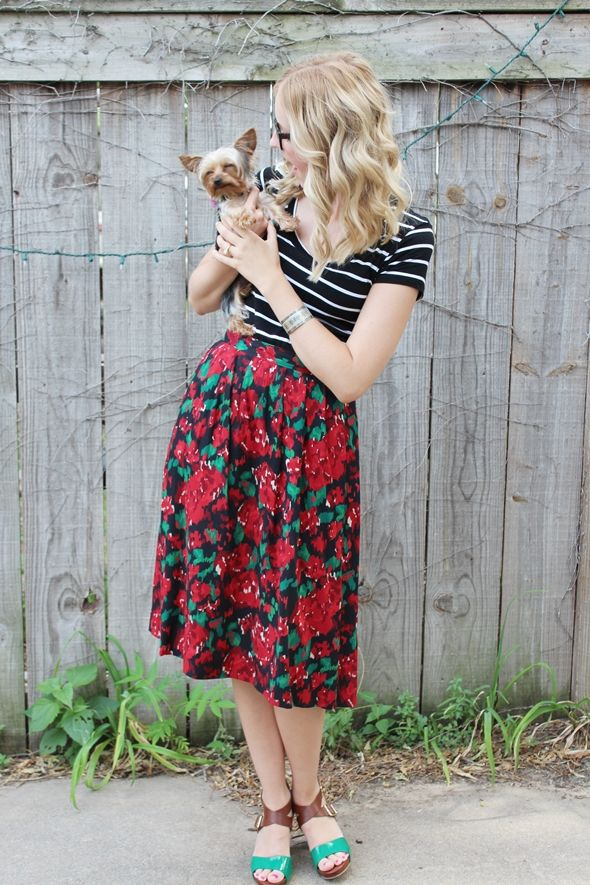 floral vintage skirt black and white fitted t shirt cat eye glasses heels yorkshire terrior ootd outfit 4 Stripes Florals Pups!
