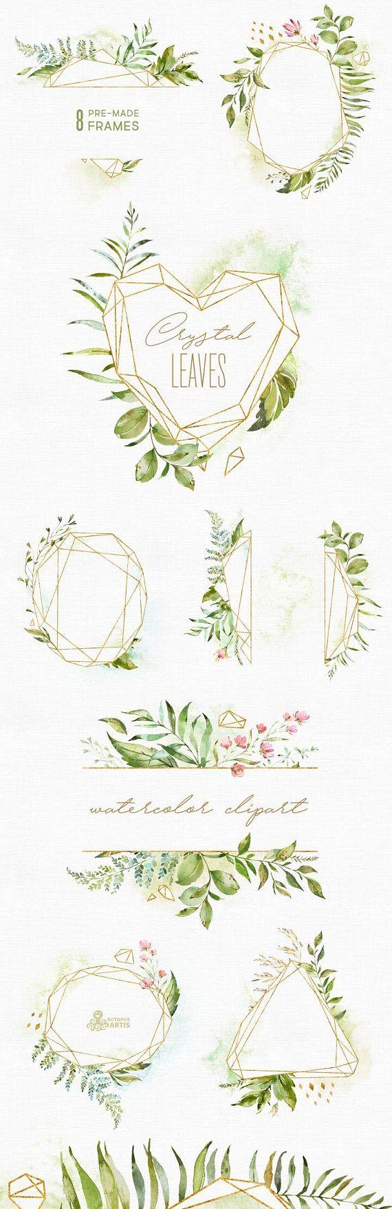 Kristallblätter. Frames. Aquarell floral & polygonal vorgefertigte Cliparts, Blatt, Gold, Grün, Geometrie, wild, Hochzeit, Brautschablone, minimal