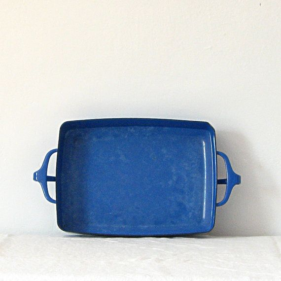 Vintage cobalt blue Dansk enamel baking pan/dish with side