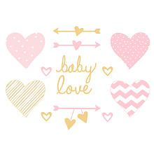 Lambs & Ivy® Baby Love Pink/Gold Heart Wall Appliques
