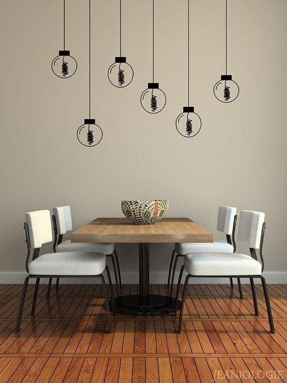mid century modern inspired hanging light bulbs - vinyl wall art