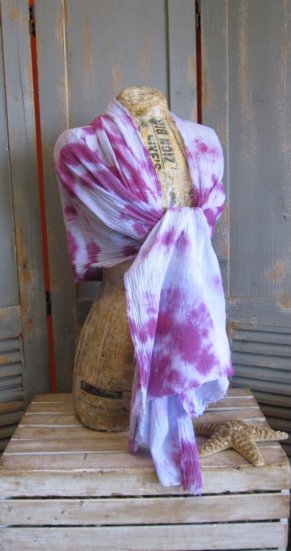Gauze Scarf Hand Dyed Tie Dye Purples Cotton Shawl In 2020 Hand Dyeing Gauze Scarf Pretty Tie Dye