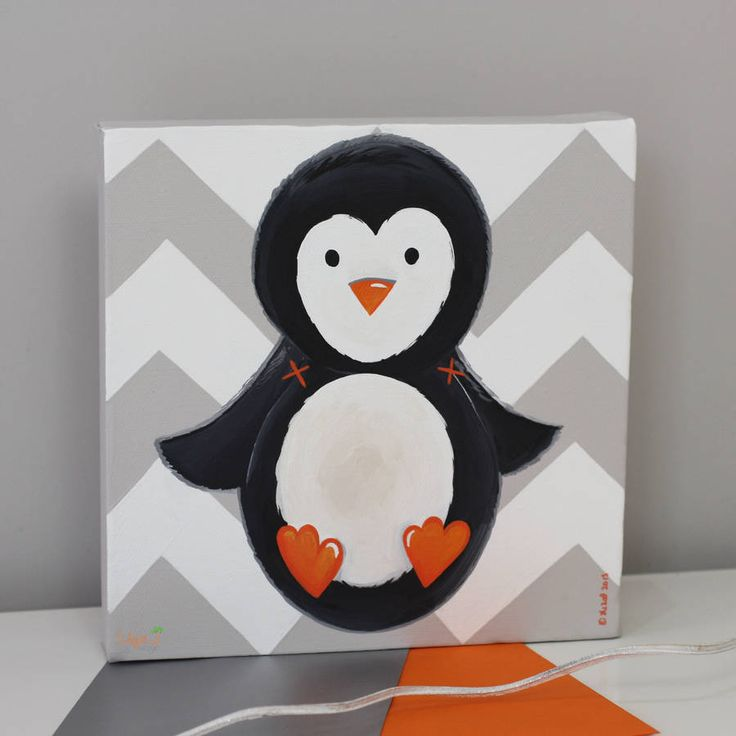 arctic animal nursery canvas, hand painted by liza j design ...