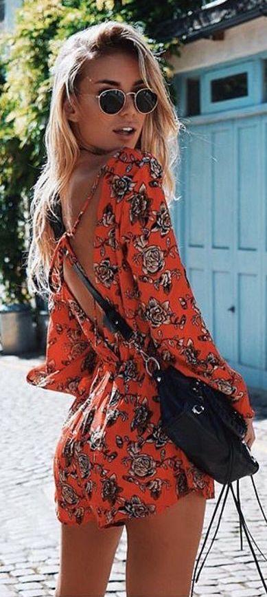 #Summer #Outfits for Spring Break / Orange Floral Print Romper