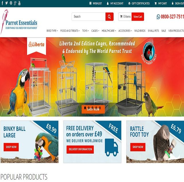 The homepage of Parrot Essentials feature the most popular products which customers can easily browse.
