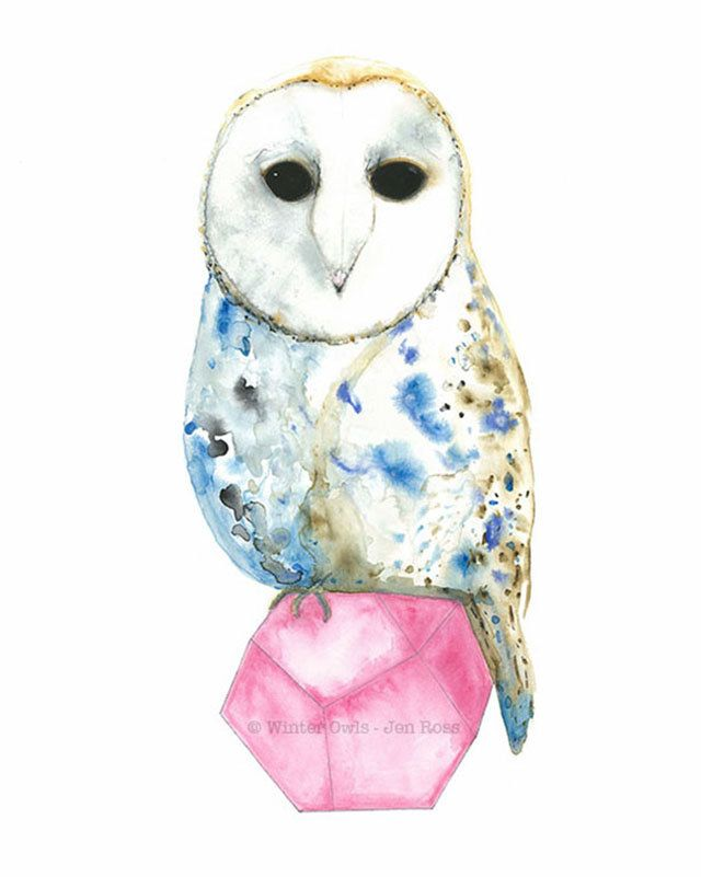 Owl Watercolour, Owl Art Print, Barn Owl Painting, Geometric Owl, Bird Watercolour, Nature Print - pinned by pin4etsy.com