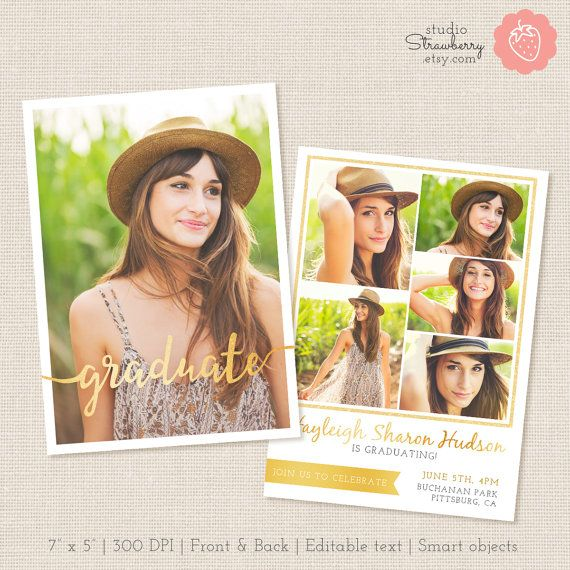 Senior Graduation Template, Graduation Invitation Template, Senior Photography Marketing, Graduation Announcement, Graduation Templates